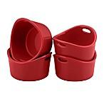 Rachael Ray™ Stoneware 4-Piece Bubble & Brown Ramekin Set in Red