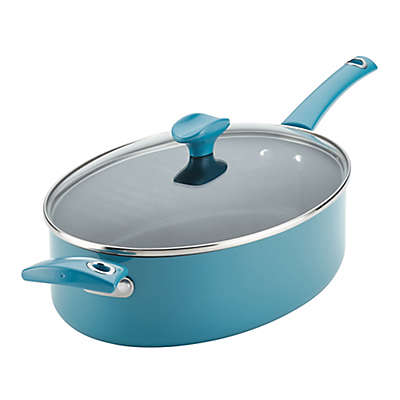 Rachael Ray™ Cityscapes Porcelain Enamel 5 qt. Covered Sauté Pan in Turquoise