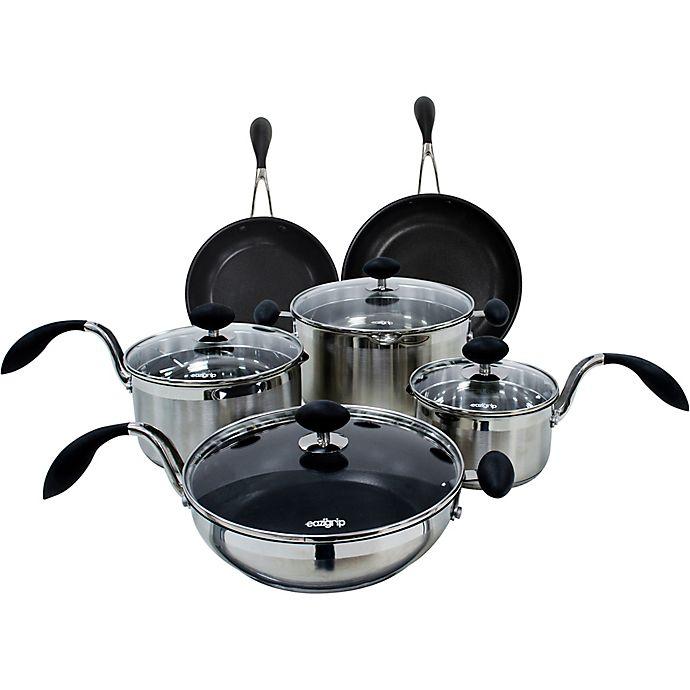 Alternate image 1 for EAZIGRIP Nonstick Stainless Steel 10-Piece Cookware Set
