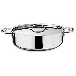 Mepra Glamour Stone Nonstick Stainless Steel 5.4 qt.Oval Roaster with Lid