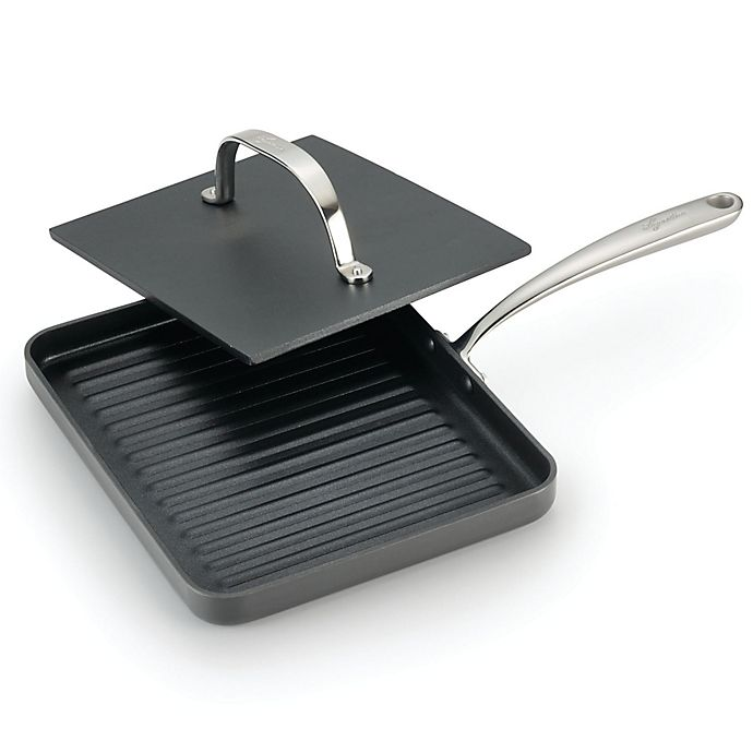 Alternate image 1 for Lagostina 10-Inch Panini Pan with Cast Iron Press in Grey