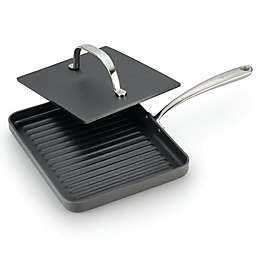 Lagostina 10-Inch Panini Pan with Cast Iron Press in Grey
