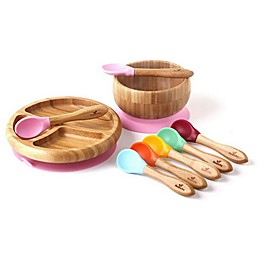 Avanchy Bamboo + Silicone Baby Bowl and Plate Set with Spoons
