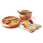 Avanchy Bamboo + Silicone Baby Bowl and Plate Set with Spoons in Orange