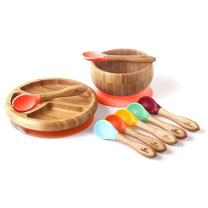 Alternate image 1 for Avanchy Bamboo + Silicone Baby Bowl and Plate Set with Spoons in Orange