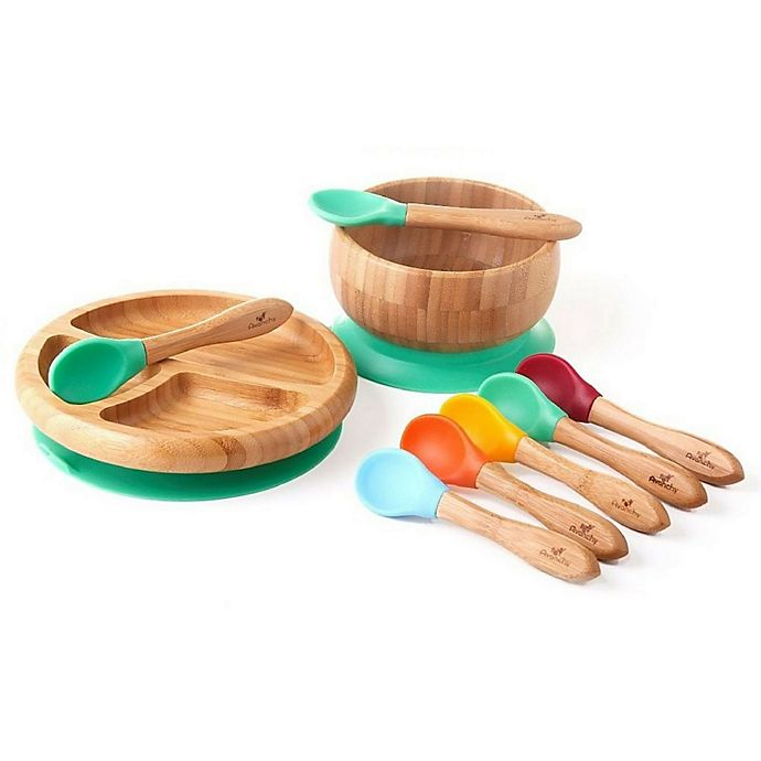 Alternate image 1 for Avanchy Bamboo + Silicone Baby Bowl and Plate Set with Spoons