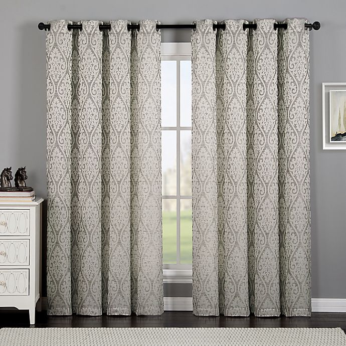 Alternate image 1 for VCNY Home Calibra Jacquard 84-Inch Grommet Top Window Curtain Panel in Grey
