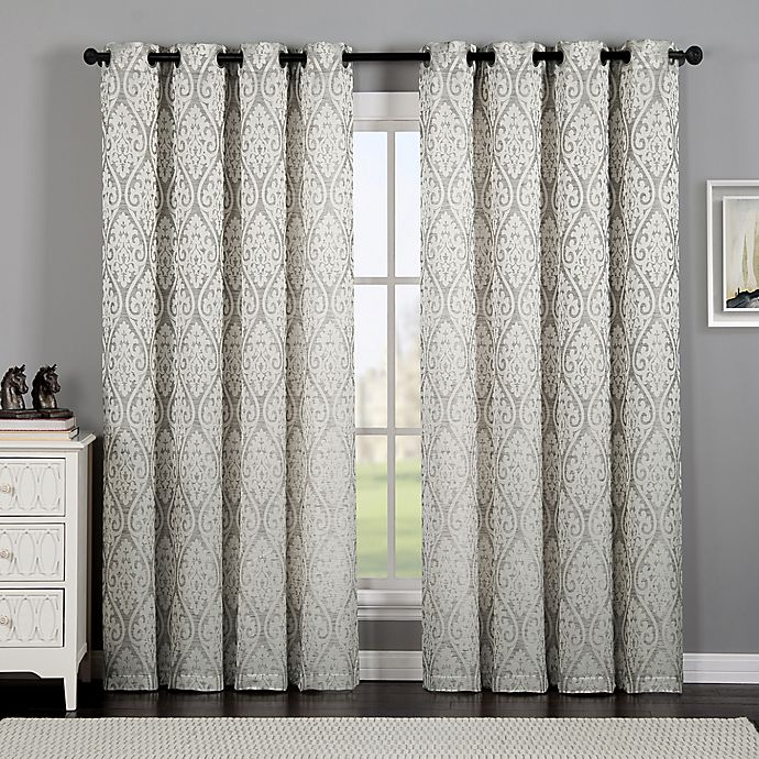 Alternate image 1 for VCNY Home Calibra Jacquard 84-Inch Grommet Top Window Curtain Panel in Taupe