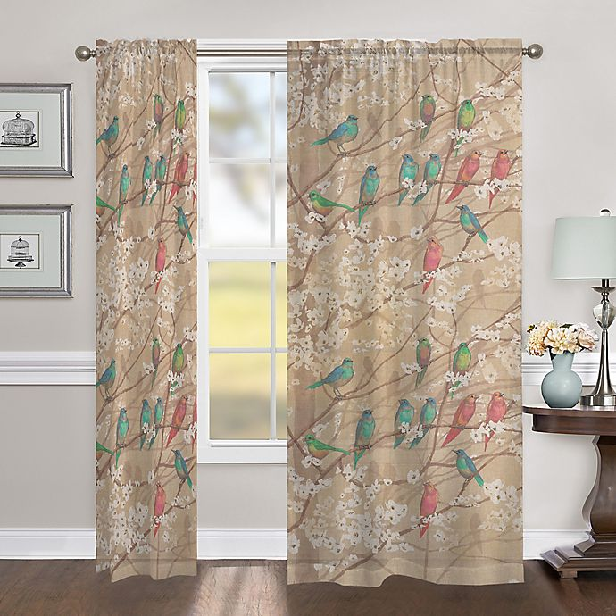 Alternate image 1 for Laural Home Birds & Blossoms 84-Inch Sheer Rod Pocket Window Curtain Panel in Beige/Multi