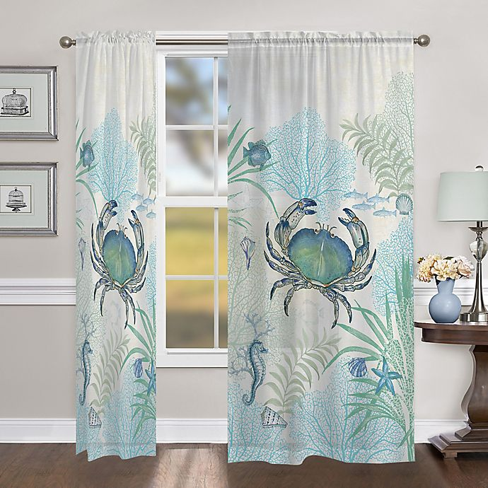 Alternate image 1 for Laural Home Blue Crabs 84-Inch Sheer Rod Pocket Window Curtain Panel