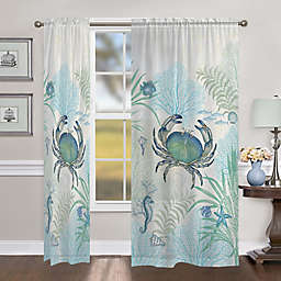 Laural Home Blue Crabs 84-Inch Sheer Rod Pocket Window Curtain Panel (Single)