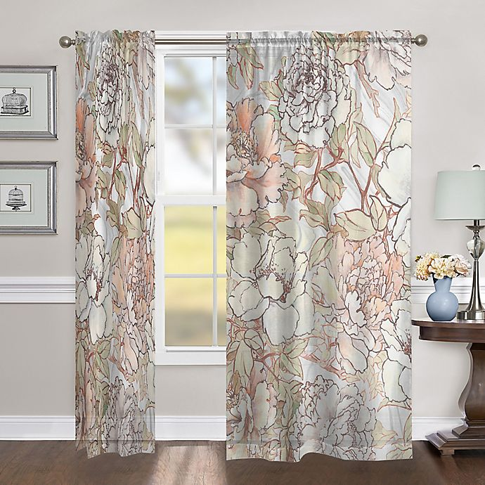 Alternate image 1 for Laural Home  Blushing Pale Pink Peonies 84-Inch Sheer Rod Pocket Window Curtain Panel