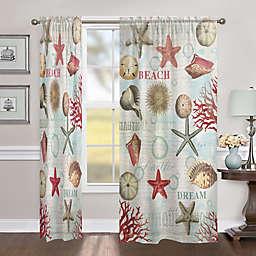 Laural Home Dream Beach Shells 84-Inch Sheer Rod Pocket Window Curtain Panel (Single)