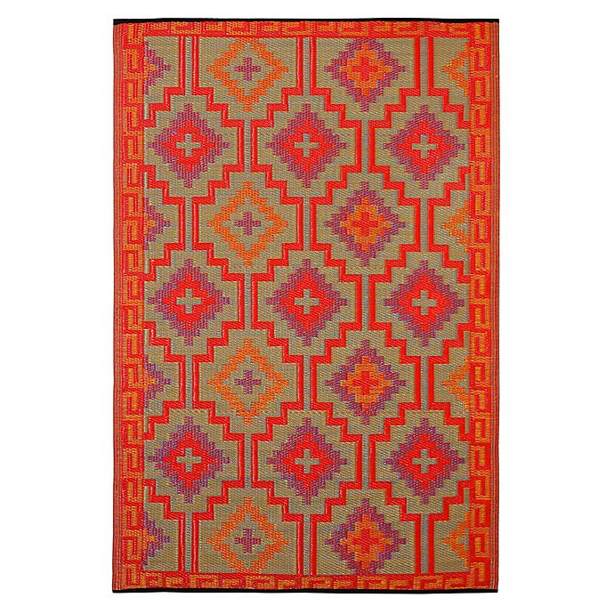 Alternate image 1 for Fab Habitat Lhasa 8-Foot x 10-Foot Indoor/Outdoor Area Rug in Orange with Violet
