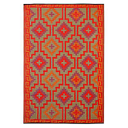 Fab Habitat Lhasa 8-Foot x 10-Foot Indoor/Outdoor Area Rug in Orange with Violet