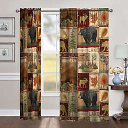 Laural Home Lodge Collage 95-Inch Room-Darkening Rod Pocket Window Curtain Panel (Single)