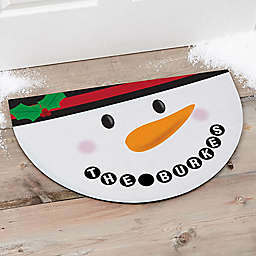 Cheery Snowman Face Half Round Door Mat