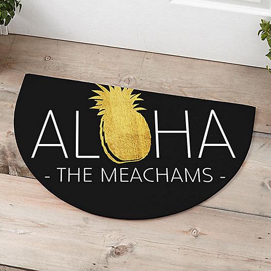 Alternate image 1 for Golden Pineapple Half Round Door Mat