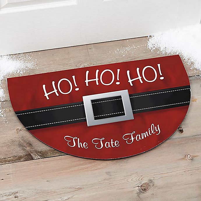 Alternate image 1 for Ho! Ho! Ho! Santa Belt Half Round Door Mat