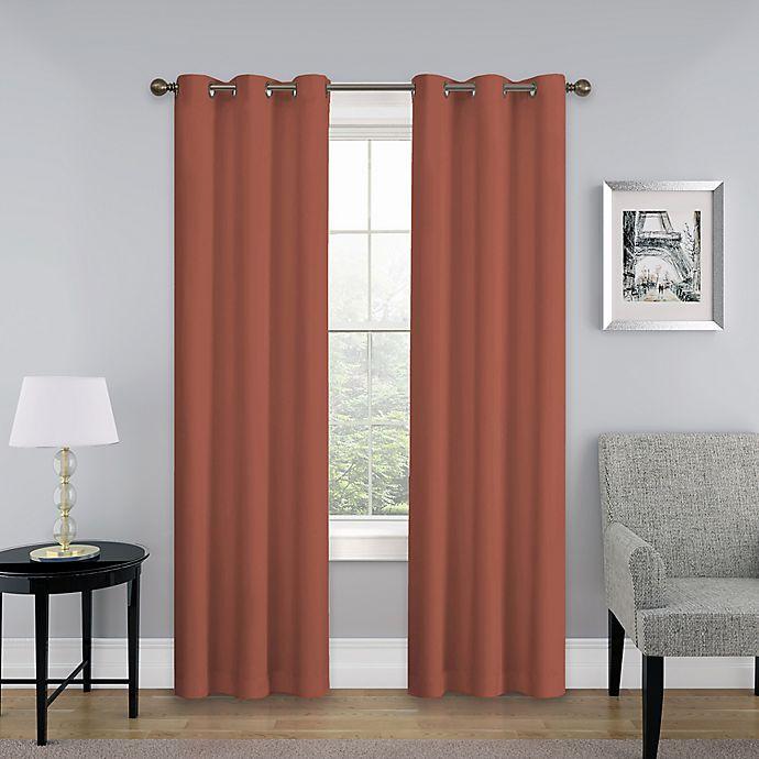 Alternate image 1 for SolarShield® Mandalay 95-Inch Grommet Top Room Darkening Window Curtain Panel in Brick