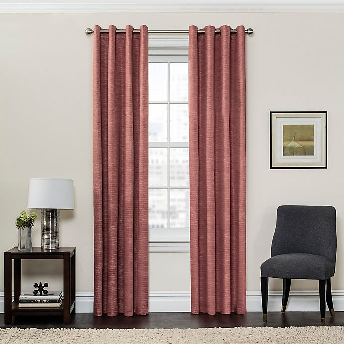 Alternate image 1 for SolarShield® Sycamore 108-Inch Grommet Top Room Darkening Window Curtain Panel in Coral