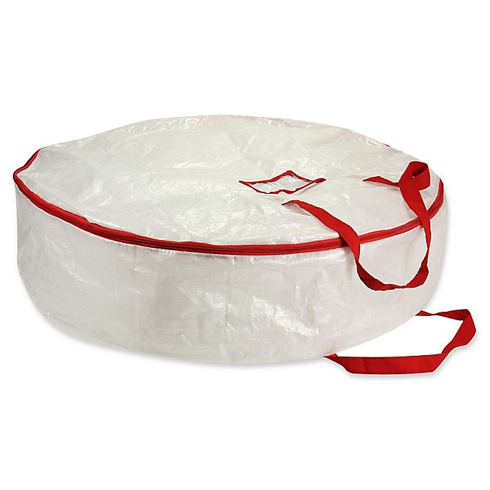 Alternate image 1 for Household Essentials® 30-Inch Holiday Wreath Storage Bag in White