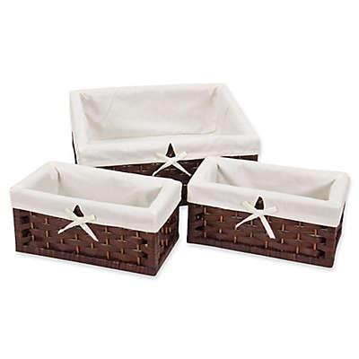 Household Essentials® 3-Piece Paper Rope Decorative Storage Basket Set in Brown