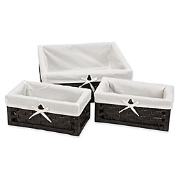 Household Essentials® 3-Piece Paper Rope Decorative Basket in Black