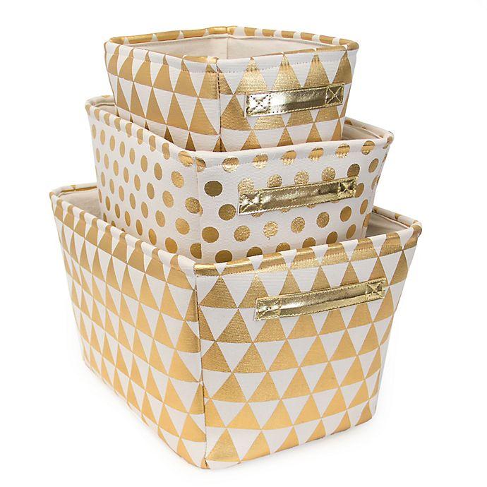 Alternate image 1 for Closet Complete 3-Piece Metallic Polka Dot/Triangle Storage Set in Gold