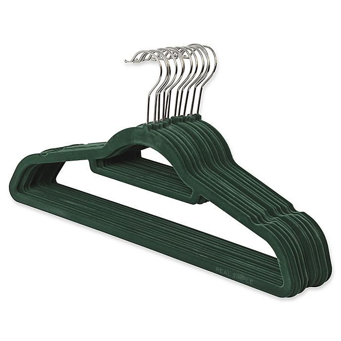 Alternate image 1 for Real Simple® 12-Count Flocked Suit Hangers In Green with Chrome Hook