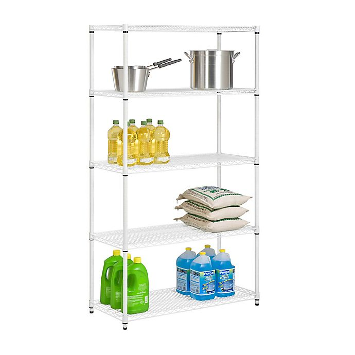 Alternate image 1 for Honey-Can-Do® 5-Tier Adjustable Storage Shelving Unit in White