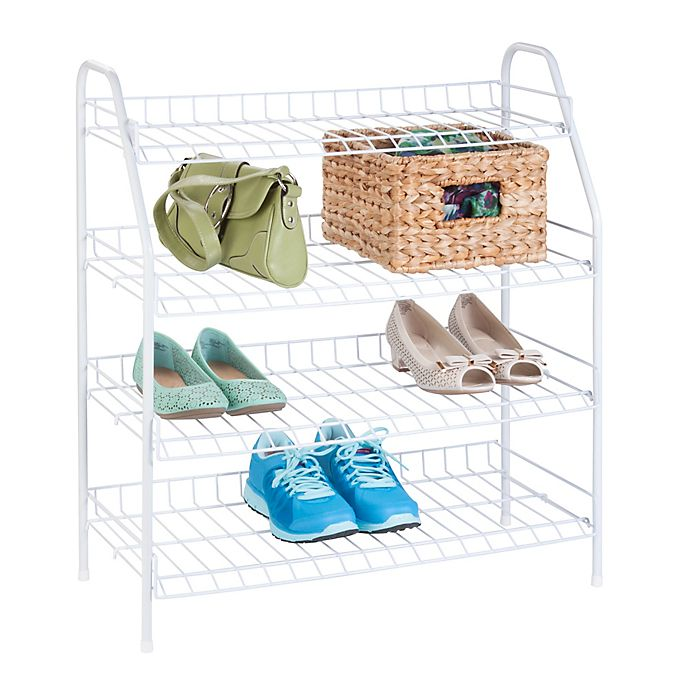 Alternate image 1 for Honey-Can-Do® 4-Tier Shoe Storage Rack in White