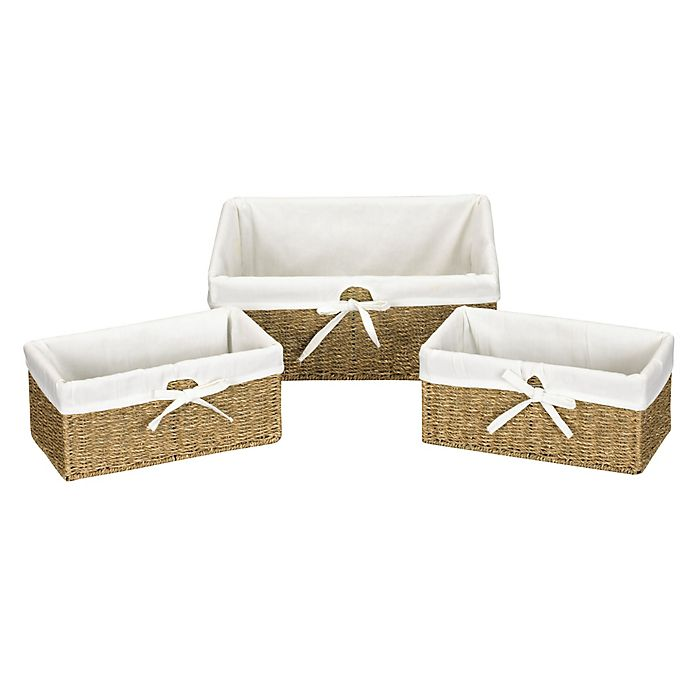 Alternate image 1 for Household Essentials® Seagrass Decorative Storage Wicker Baskets in Natural (Set of 3)