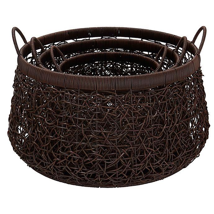 Alternate image 1 for Household Essentials® 3-Piece Nested Wicker Basket Set in Espresso