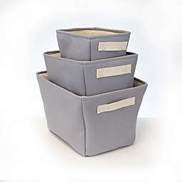 Closet Complete 3-Piece Canvas Storage Totes in Grey