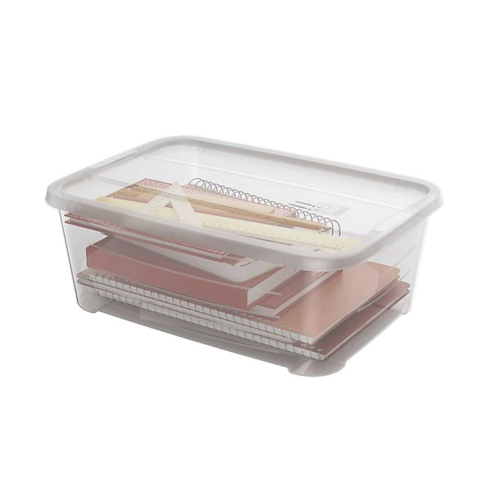 Alternate image 1 for Large Clear Stackable Storage Boxes (Set of 4)