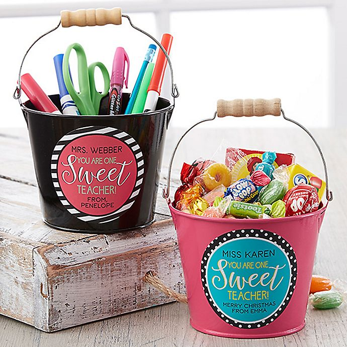 Alternate image 1 for One Sweet Teacher Mini Metal Bucket