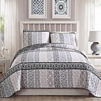 Kylie Reversible Full/Queen Quilt Set in Taupe/Grey