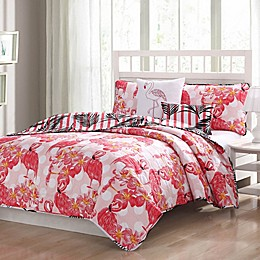 Flamingo Reversible Quilt Set