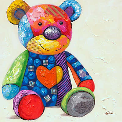 "Children's 20-Inch Square ""Patches Teddy"" Canvas Wall Art"