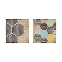 Intelligent Design 18-Inch Square Hexagon Puzzle Canvas Wall Art (Set of 2)