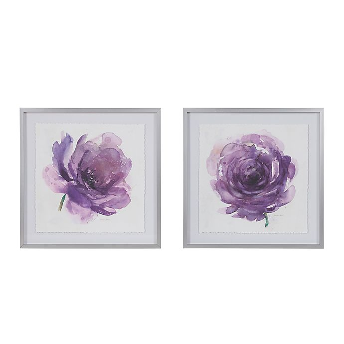Madison Park Signature Purple Ladies Rose Framed Wall Art Set Of 2 Bed Bath Beyond