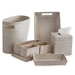 Biscayne Rattan Bath Ensemble in Whitewash