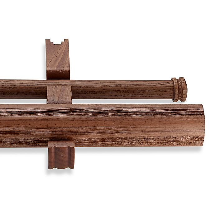 Cambria 174 Estate Wood Double Smooth Curtain Rod In Brown