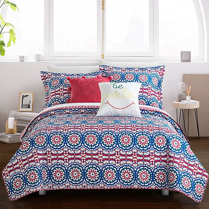 Alternate image 1 for Chic Home Maiya 7-Piece Reversible Twin XL Quilt Set in Fuchsia