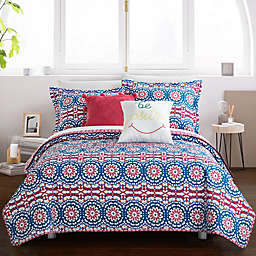 Chic Home Maiya 7-Piece Reversible Twin XL Quilt Set in Fuchsia