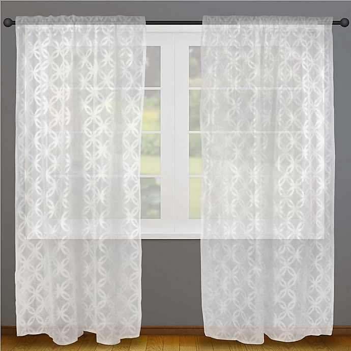 Alternate image 1 for Design Imports Lace 108-Inch Rod Pocket Window Curtain Panel Pair in White