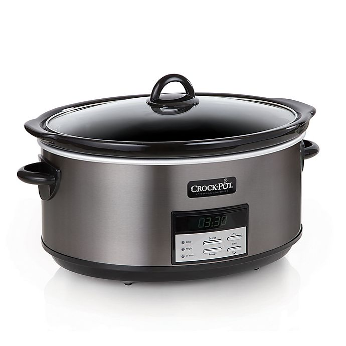 Crock Pot 8 Qt Programmable Slow Cooker In Black Stainless Bed