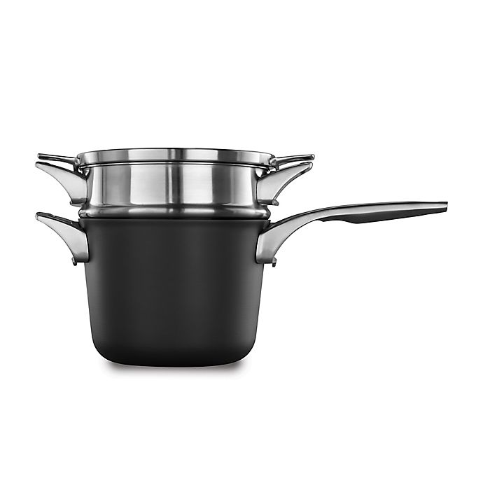 Alternate image 1 for Calphalon® Premier™ Space Saving Hard Anodized Nonstick 4.5 qt. Saucepan and Double Boiler