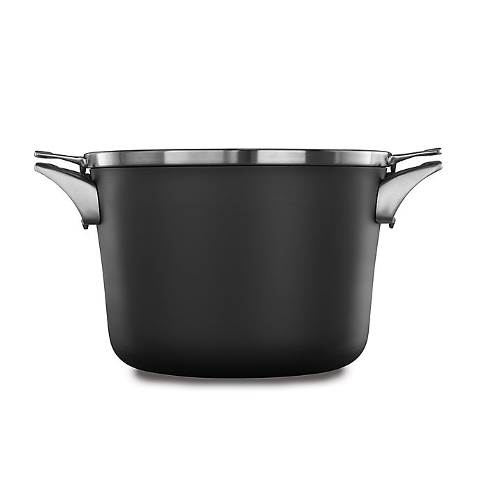 Alternate image 1 for Calphalon® Premier™ Space Saving Hard Anodized Nonstick 8 qt. Covered Stock Pot